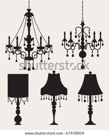 Vector illustration of chandeliers and table lamps. - stock vector