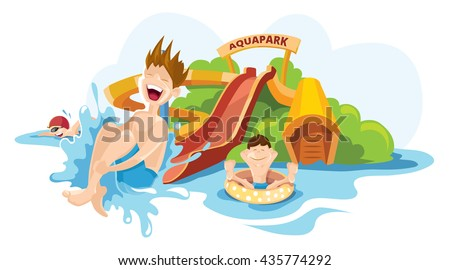 Vector illustration of cheerful boy rides on water hills. Picture isolate on white background - stock vector