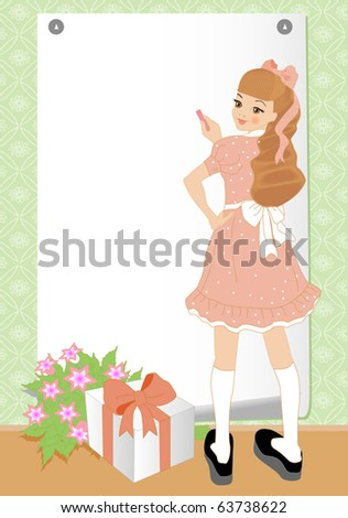 Vector illustration of cheerful girl. Greeting card. Your text - stock vector