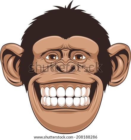 Vector illustration of cheerful monkeys - stock vector