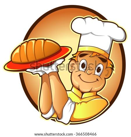 Vector Illustration Of Chef Holding Bread - stock vector
