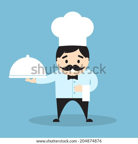Vector illustration of chef with cloche and towel. Flat design - stock vector