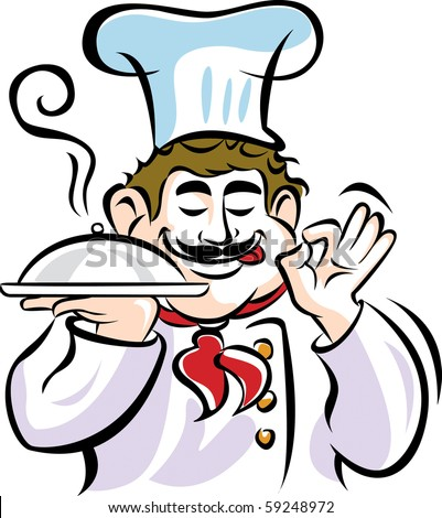 Vector Illustration of Chef with food serving tray. - stock vector