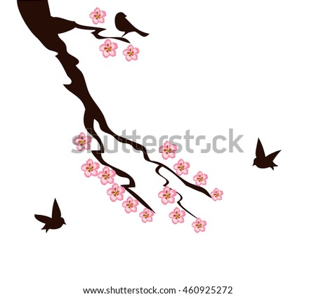 vector illustration of cherry branch with birds