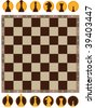 Vector illustration of chess board on white background - stock photo
