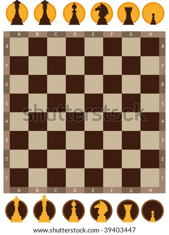 Vector illustration of chess board on white background - stock vector
