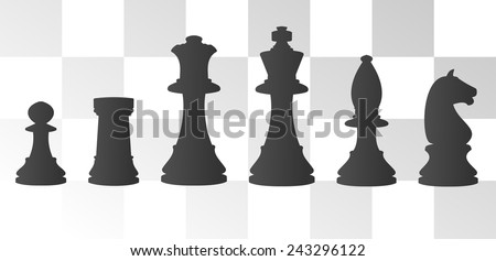 vector illustration of chess board with chess figure - stock vector