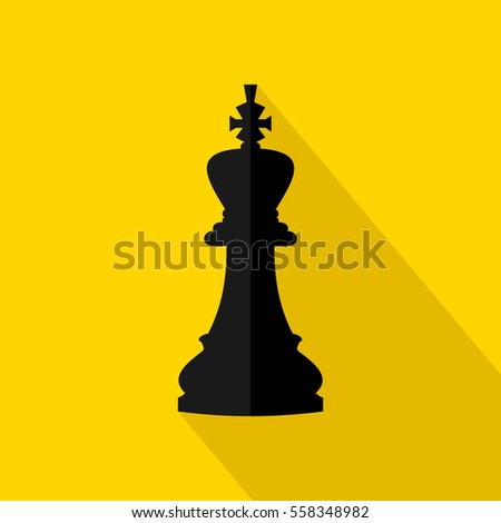 Vector Illustration Of Chess King Icon Black On Yellow Background Flat Design