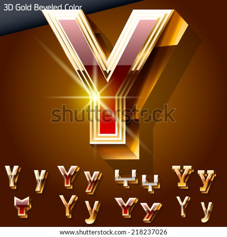 Vector illustration of chic golden 3D beveled and coloured font. Letter y - stock vector
