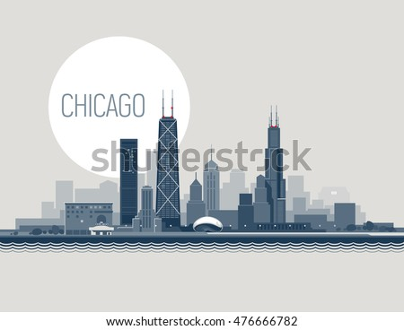Vector illustration of Chicago City