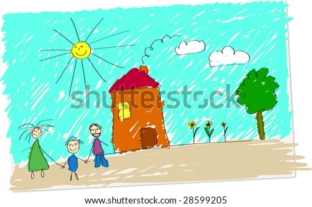 Vector illustration of childlike drawing of happy family in front of their home. - stock vector