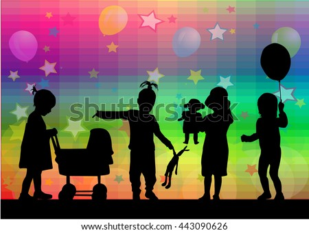 Vector illustration of children. Abstract background.