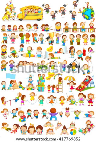 vector illustration of children doing different fun activities liking painting,studying,sports and music - stock vector
