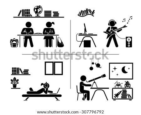Vector illustration of children doing homework, learning and and spending their free time in their rooms. Pictogram icon set.  - stock vector