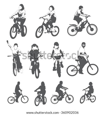 Vector Illustration of children riding bicycles