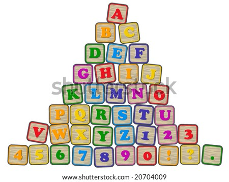 vector illustration of  children's building blocks showing the alphabet, numerals and punctuation.... all complete blocks are in individual groups, but on one layer... - stock vector