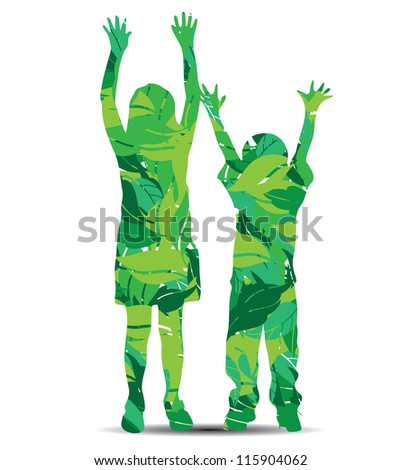 vector illustration of children silhouette with leaves - stock vector
