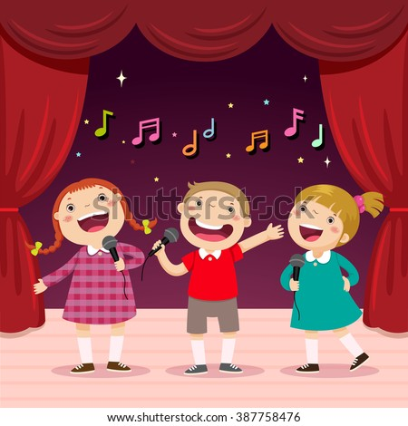 Vector illustration of children sing with a microphone on the stage - stock vector
