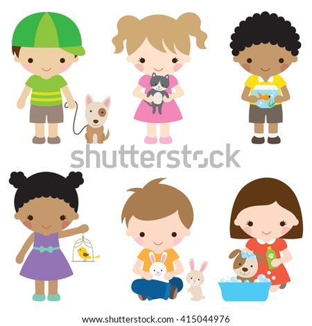 Vector illustration of children with pets including dog, cat, fish, bird, and rabbit. - stock vector