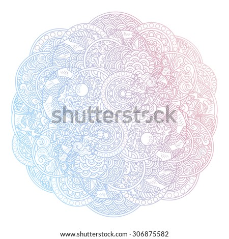 Vector illustration of chinese traditional dragons with pearl ornament - round circle ornate rosette with scale, waves and other ancient asian ornament elements, faded gradient colors - stock vector