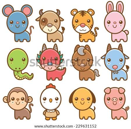 Vector illustration of Chinese Zodiac animal cartoon - stock vector