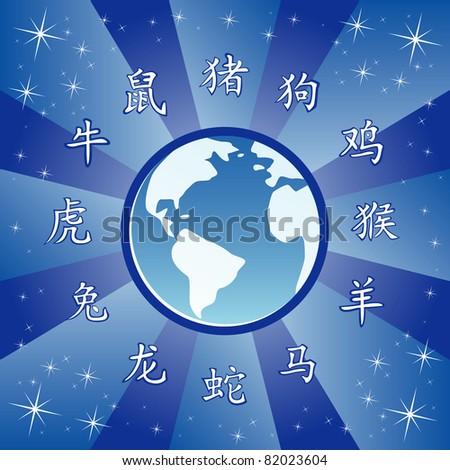 Vector illustration of chinese zodiac wheel - stock vector