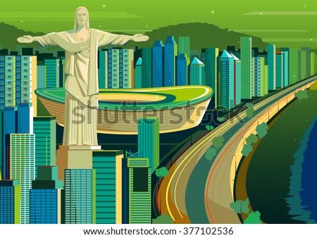 vector illustration of Christ the Redeemer statue in Brazil - stock vector