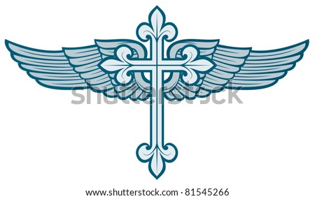 vector illustration of christian cross and wing - stock vector