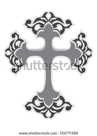 vector illustration of christian cross on white background - stock vector