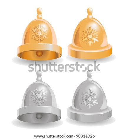 vector illustration of Christmas and New Year bells with snowflakes - stock vector