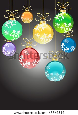 Vector illustration of Christmas color balls with ribbons hanging - stock vector