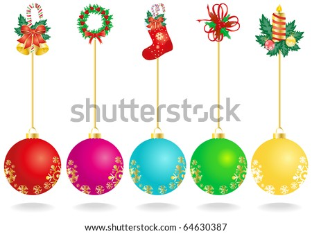Vector illustration of Christmas decoration with color balls - stock vector