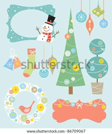 Vector illustration of Christmas design elements. - stock vector