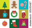 Vector illustration of Christmas elements set. - stock vector