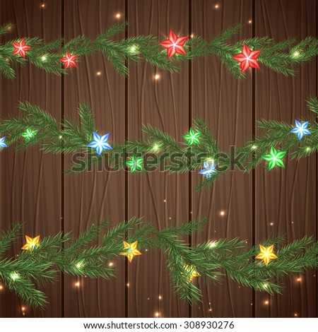 Vector illustration of christmas garlands with green, red, blue and yellow stars on a dark wooden background. Beautiful decorative backdrop for New Year postcard, poster, print or invitation. - stock vector