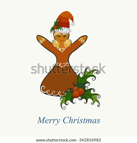 Vector illustration of Christmas gingerbread girl in Santa Claus hat with mistletoe. - stock vector
