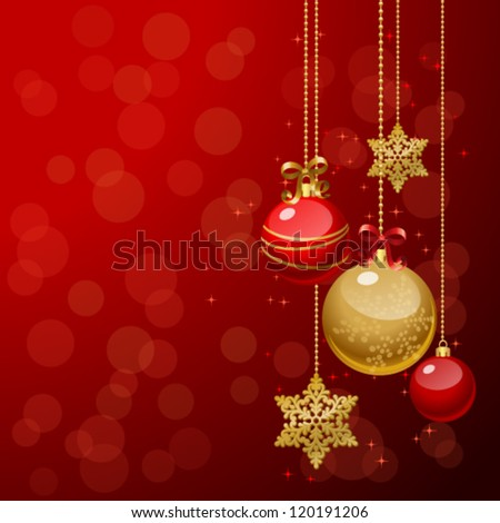 Vector illustration of Christmas/New Year decor: tree, balls, bows, snowflakes. Colorful background for your design of greeting cards, invitations, congratulations - stock vector