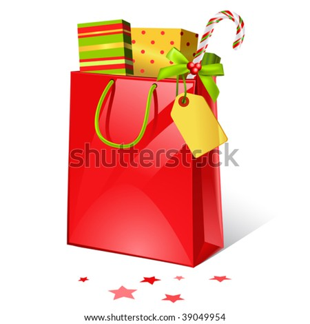 vector illustration of christmas shopping bag with presents - stock vector