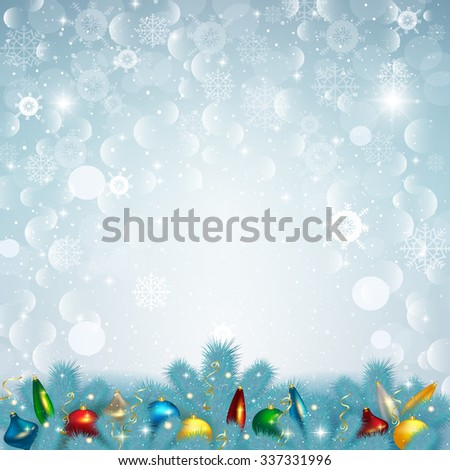 Vector illustration of Christmas snow background with fir branches and fur-tree toys. - stock vector