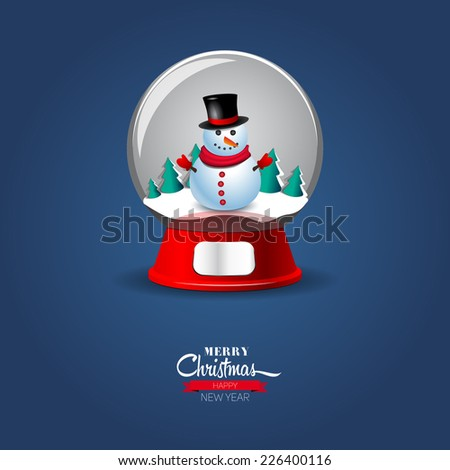 Vector illustration of Christmas Snow globe with snowmen - stock vector