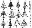 Vector illustration of Christmas tree design set. - stock vector