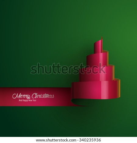 Vector illustration of Christmas tree paper-cut design. Stylized ribbon Christmas tree