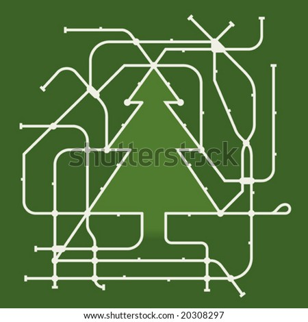 Vector illustration of christmas tree subway map. Station names in AI file. Only global colors. CMYK. Easy color changes. - stock vector