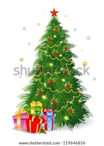 Vector illustration of Christmas tree with gifts - stock vector