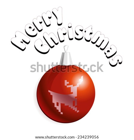 Vector illustration of Christmass card with red decoration ball with a deer. - stock vector