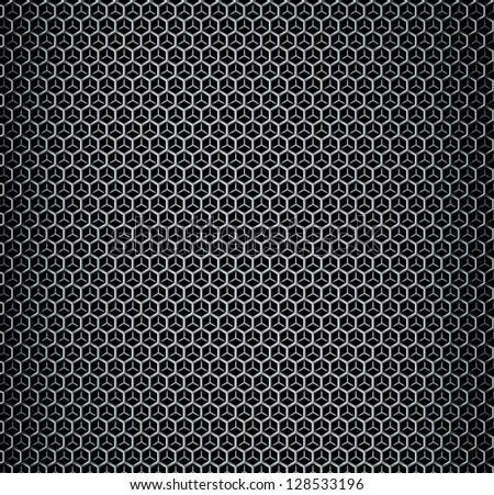 Vector illustration of chrome metal bilayers grid with rounded honeycombs - stock vector