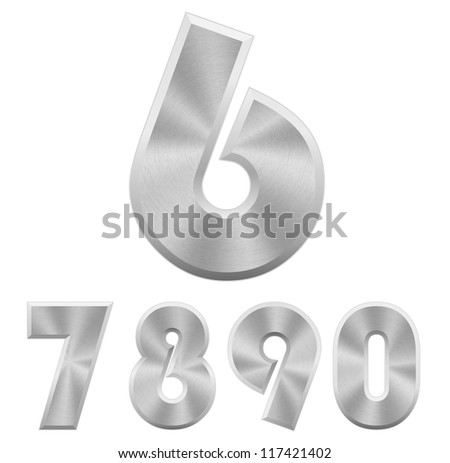 Vector illustration of chromium metallic numbers. Part 2. - stock vector