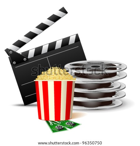 Vector illustration of cinema clap with film reels and popcorn - stock vector