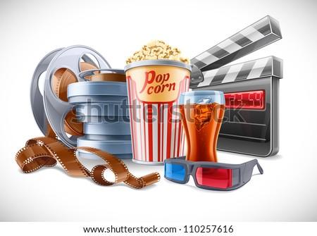 Vector illustration of cinema theme on light background - stock vector