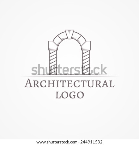 Vector Illustration Of Circle Arch Logo With Text Design Element Gray Line